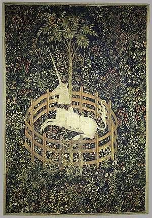 Unicornio en cautividad tapiz